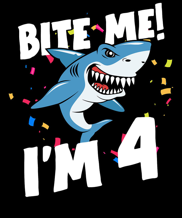 Boys 4 Years Old Happy Birthday Gifts Fun Party Shark Gift Idea Digital Art By Orange Pieces