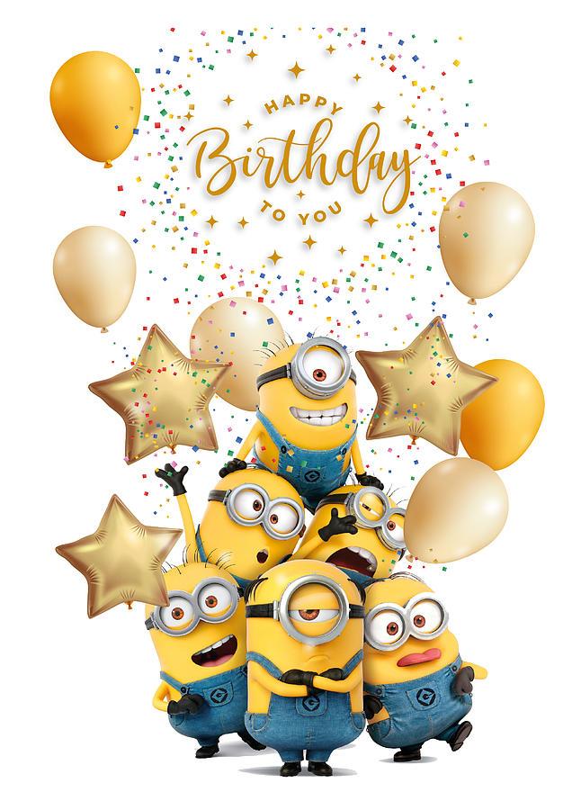 Happy Birthday Minions Digital Art By Viktoria Mikh