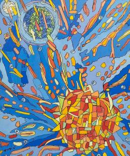 The sun, the earth, and the moon Painting by Mario Curis