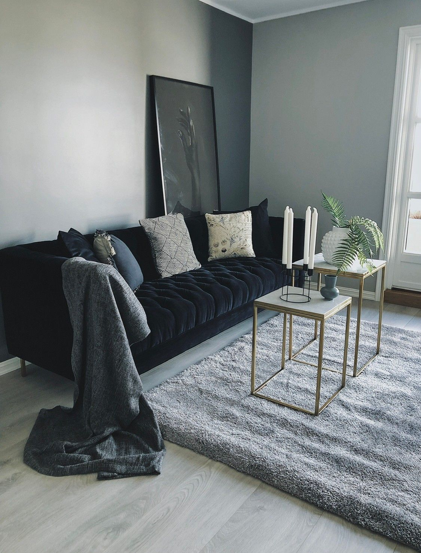 Monza Lounge Sofa Bla Velour Venstrevendt