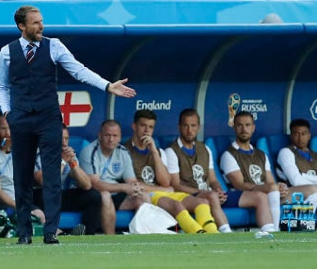 England Head Coach Gareth Southgate Reacts During The Group G Match Against Belgium Ap