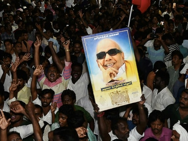File image of M Karunanidhi's supporters outside Kauvery Hospital. PTI