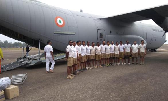 The 21 NDRF personnel and the pumps were airlifted from Bhubaneswar in a Lockheed Martin C-130J Super Hercules to Guwahati by the Indian Air Force on Friday