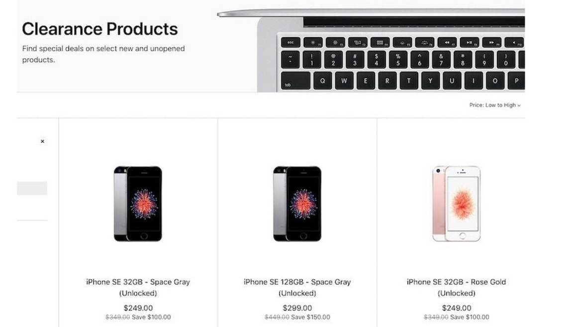 Apple US website shows the iPhone SE listing under clearance section. Image: MacRumours