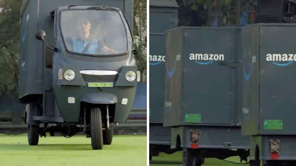 Amazon CEO Jeff Bezos announces new electronic delivery rickshaw fleet for India.