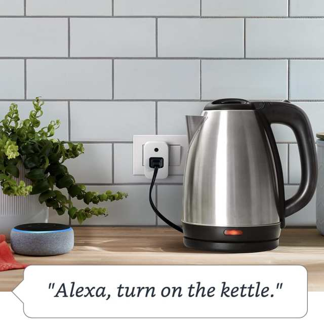 Amazon Smart Plug can be connected with standard appliances like water kettle, or a lamp.