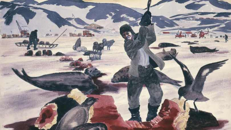 'The Antarctic Butcher' painted by Standish Backus, 1956. U.S. Naval Art Collection