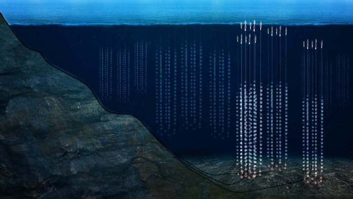 Garlands of individual neutrino detectors that make up the Baikal observatory. Image Credit: Dzhelepov Laboratory of Nuclear Problems