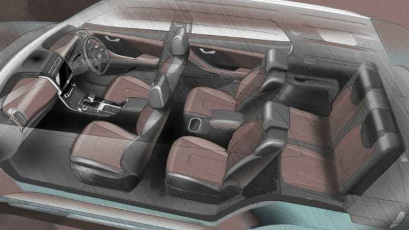 The Hyundai Alcazar's interior sketch confirms there will also be a six-seat variant. Image: Hyundai