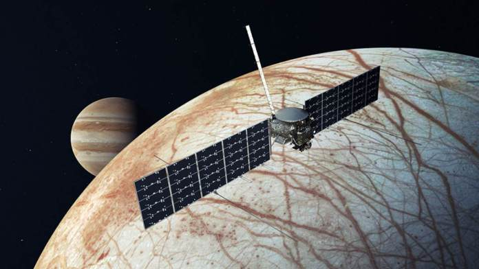 This illustration, updated as of December 2020, depicts NASA's Europa Clipper spacecraft. The mission, targeting a 2024 launch, will investigate whether Jupiter's moon Europa and its internal ocean have conditions suitable for life. Image credits: NASA/JPL-Caltech