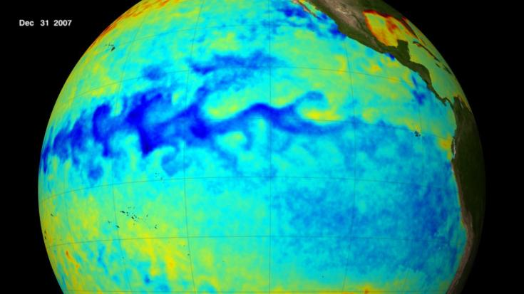 The blue area throughout the center of this image shows the cool sea surface temperature along the equator in the Pacific Ocean during this La Niña episode. Credit: NASA/Goddard's Scientific Visualization Studio