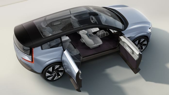 The Concept Recharge features rear-hinged rear doors. Image: Volvo