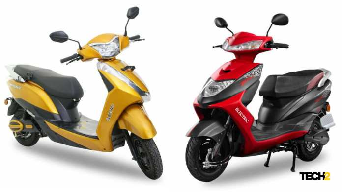 Both the Ampere Magnus  (left) and Zeal will both cost less than Rs 50,000 in Maharashtra thanks to the EV policy. Image: Tech2