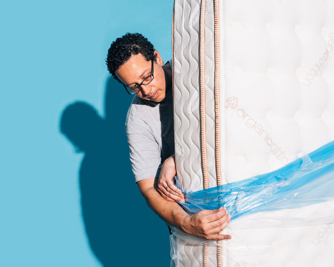 Saatva guarantees that a local delivery company will bring your mattress. Ours came wrapped in plastic. Credit Cole Wilson for The New York Times