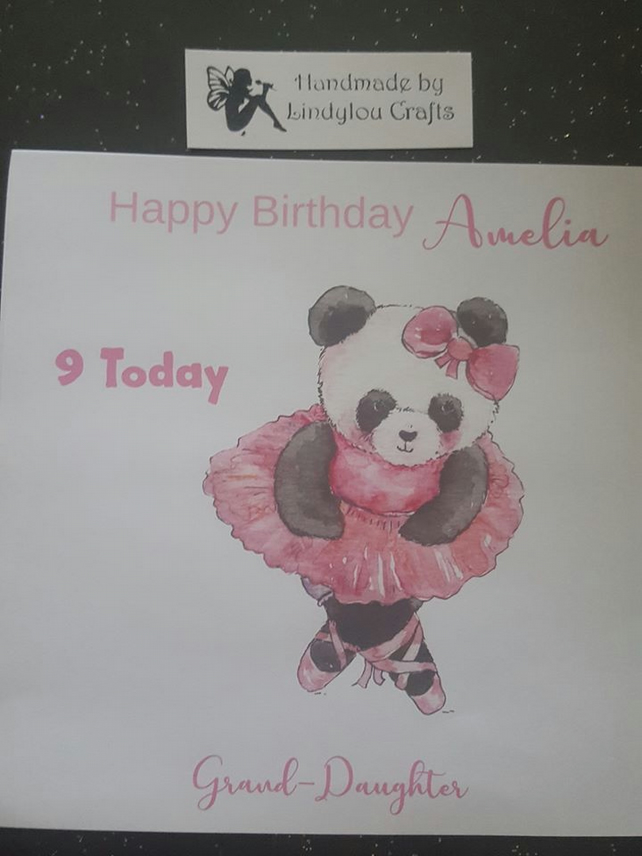 Greeting Cards Invitations Cute Panda Handmade Personalised Birthday Card Daughter Sister Any Text Greeting Cards Party Supply