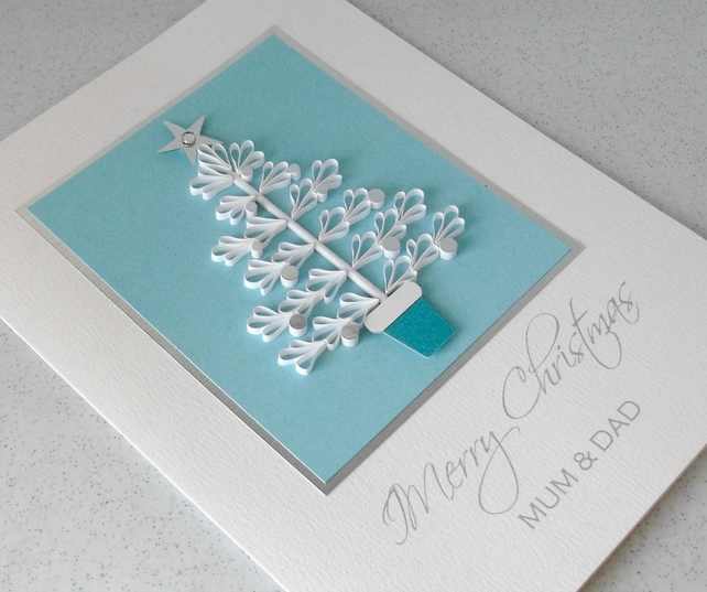 Quilled Christmas Card For Mum And Dad Folksy