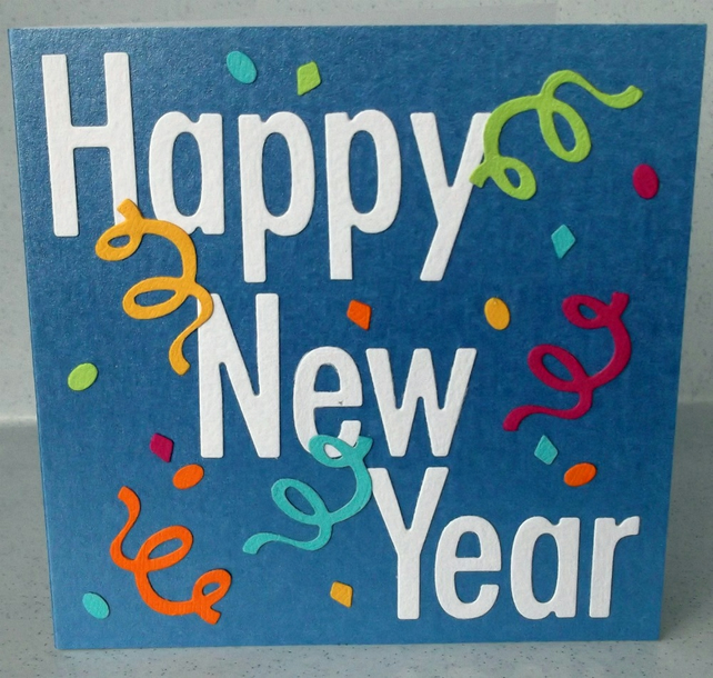 Handmade Happy New Year Card Folksy