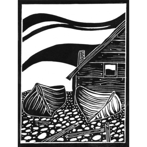 Original Lino Cut Print Fishing Boats And Folksy