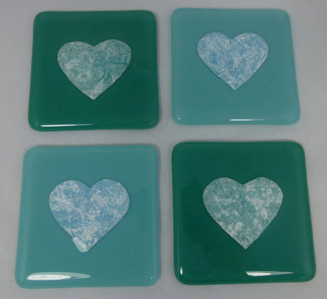 Turquoise And Teal Fused Glass Coasters With Tu Folksy