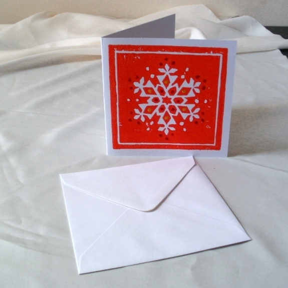 A Lino Printed Christmas Card Red Snowflake Folksy