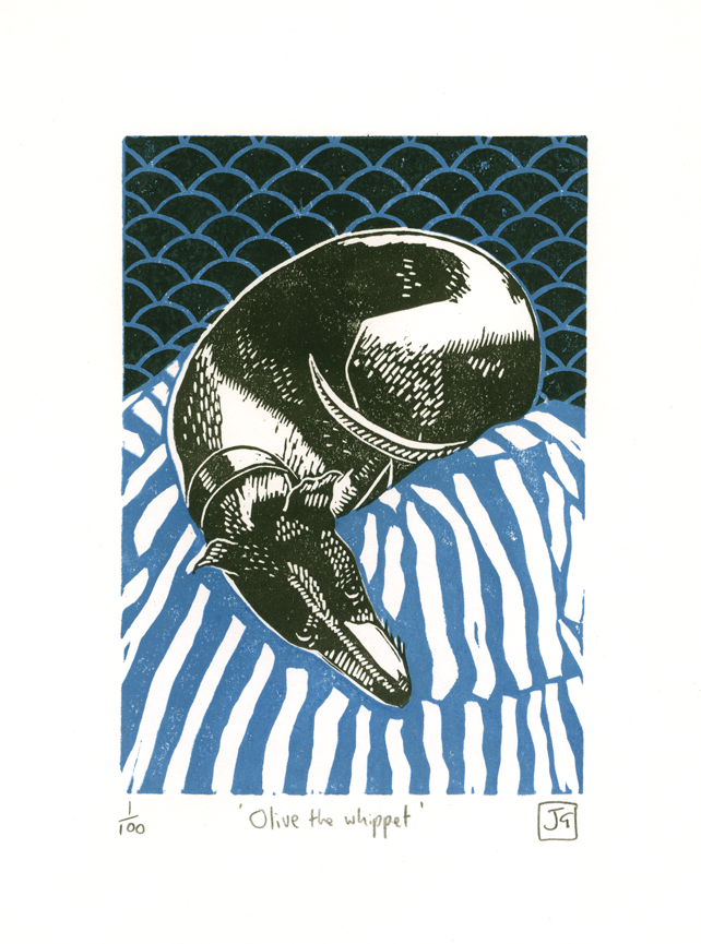 Olive The Whippet Two Colour Linocut Print Folksy