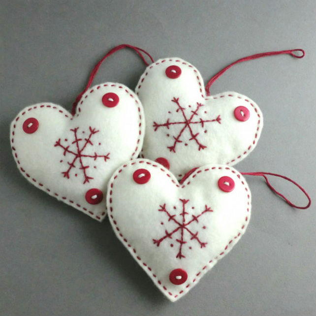Christmas Decorations Scandinavian Felt Heart Set Folksy