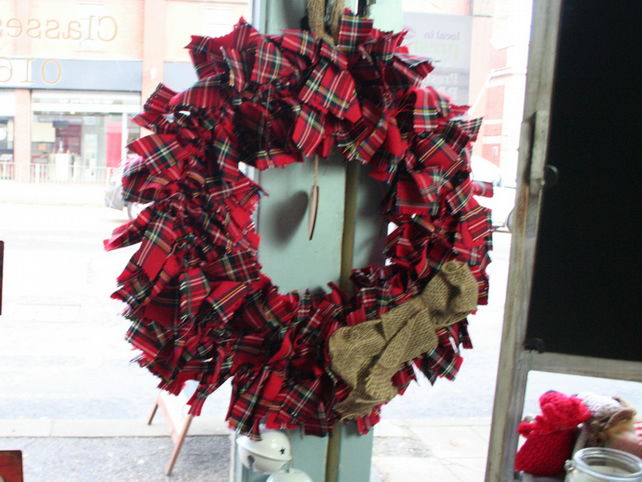 Red Tartan Christmas Wreath Handmade Christmas Folksy