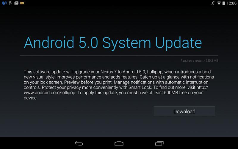 Google disponibiliza imagens de fabrica do Android 5.0.2 para o Nexus 7 2