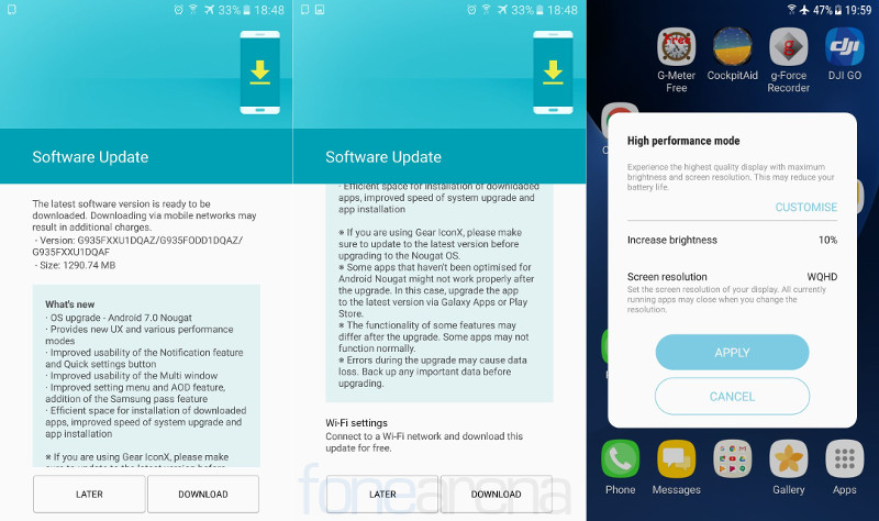 Samsung Galaxy S7 edge Android 7.0 Nougat