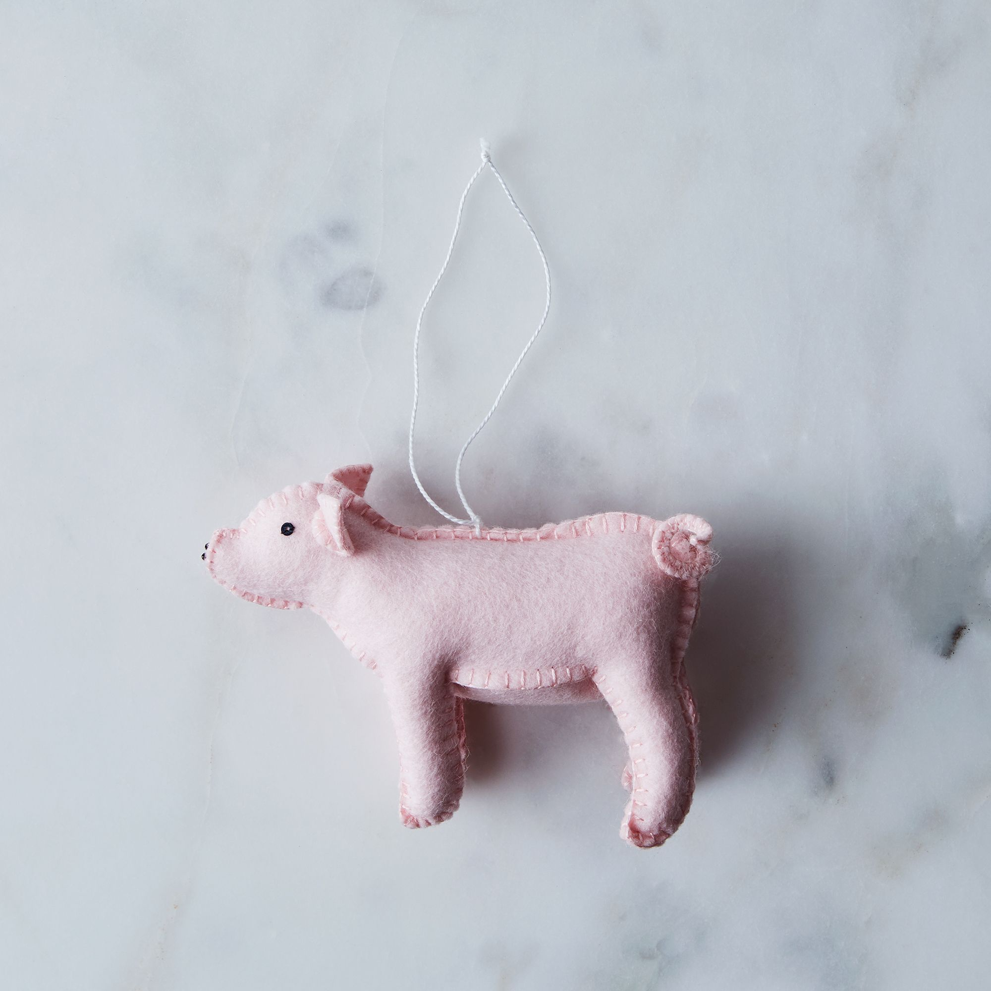 Hand-Stitched Wool Piglet Ornament - Pink