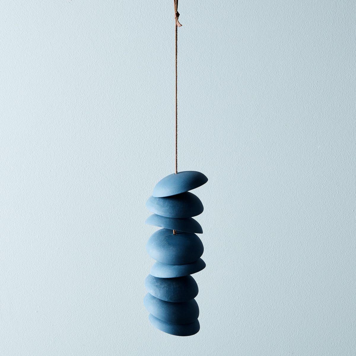 Blue Porcelain Wind Chimes - 8 Discs