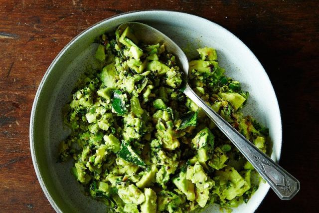 Julie Sahni's Curried Avocado with Garlic and Green Chiles