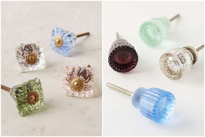 If your cabinets are a plain-old white color, consider mixing and matching colored glass knobs, like the ones shown here.