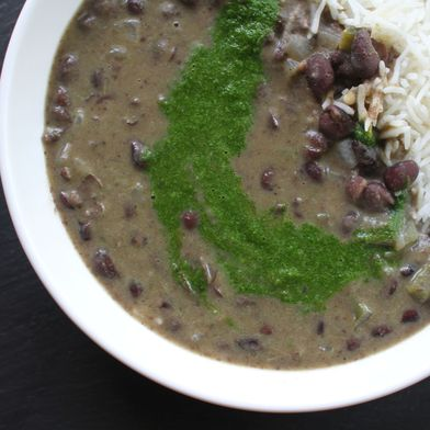 Quick Black Bean Soup with Spicy Cilantro Paste