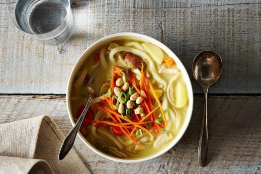 massaman-inspired chicken noodle soup