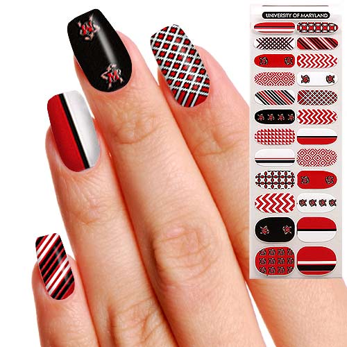 Maryland Terrapins Womens 24-pack Fingernail Appliques | Meedel