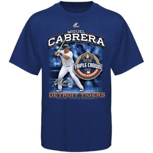 Majestic Miguel Cabrera Detroit Tigers 2012 Triple Crown T-Shirt - Navy Blue