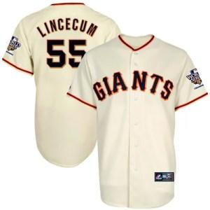 Majestic Tim Lincecum San Francisco Giants 2010 World Series Champions Jersey-Natural