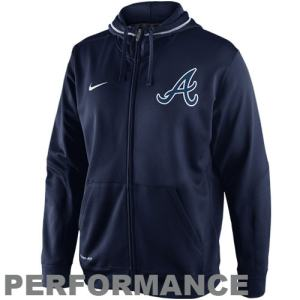 Nike Atlanta Braves TKO Performance Full Zip Hoodie Sweatshirt - Navy Blue