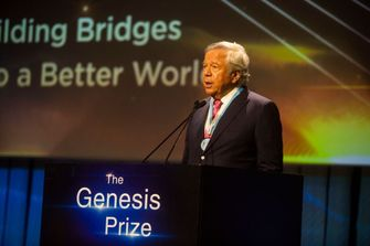 Robert Kraft gives a speech on stage during the Genesis Prize ceremony at The Jerusalem Theater on June 20, 2019 in Jerusalem, Israel. by the Forward