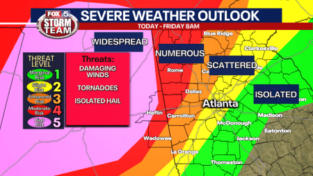 Storm Alert Day: Tornado Watch For Most Of North Georgia Until 2 A.m.