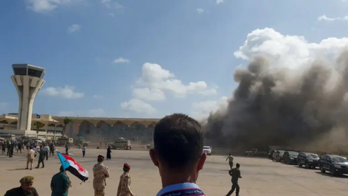 Explosion rocks Yemen airport in 'cowardly terrorist attack' as new Cabinet members land