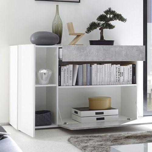 petit buffet blanc laque et gris design
