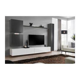 Ensemble De Meuble Pour Salon Mural Switch Viii Meuble Tv Mural Design Coloris Blanc Et Gris Brillant Rakuten