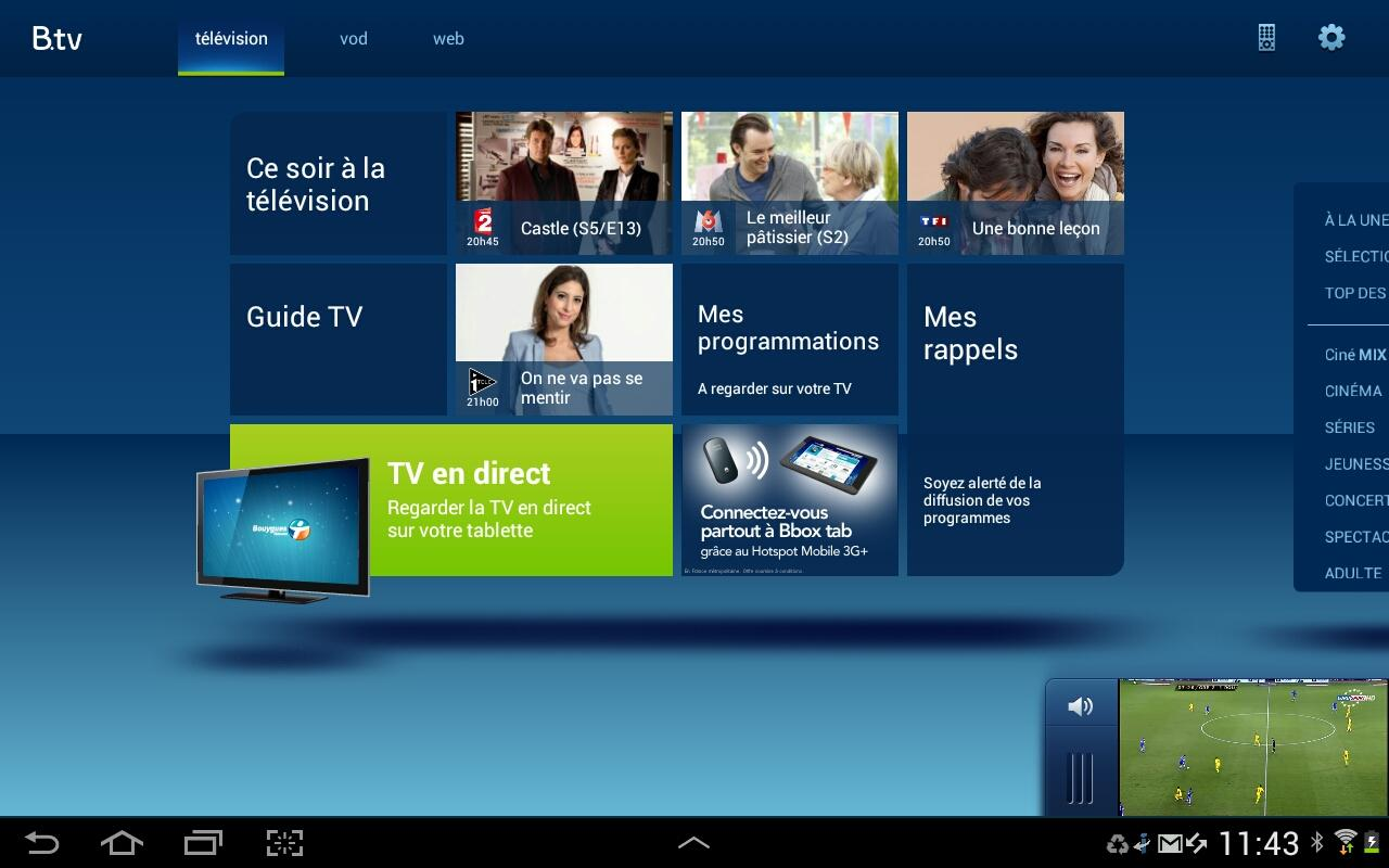 les applications b tv pour android