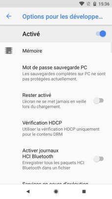 Android 81 options pour les développeurs (1)