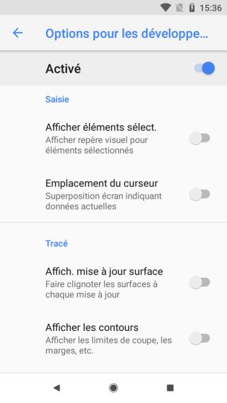 Android 81 options pour les développeurs (4)