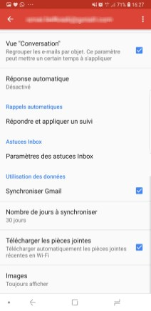 compte Gmail sync