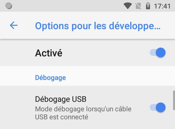 Debogage USB Android 81 Oreo
