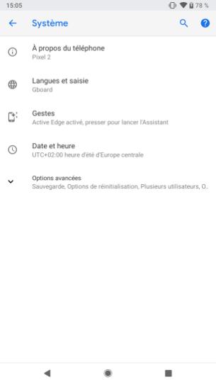 Android P Beta Google Pixel 2 activer gestes (2)